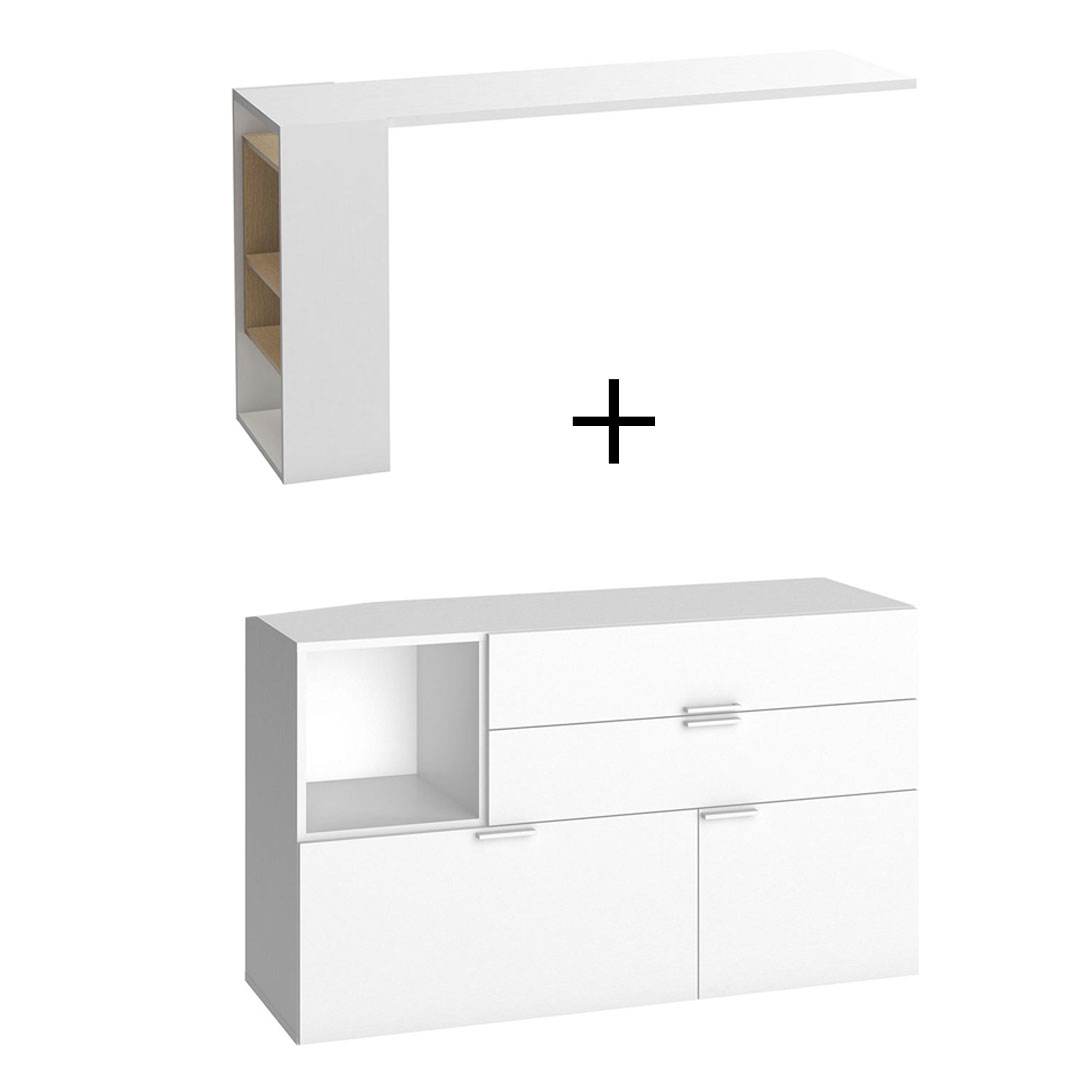 4You Dressing Table/Desk & Chest of Drawers - White