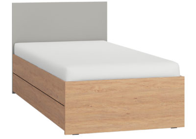 Simple Single Bed - Grey with Storage Drawer