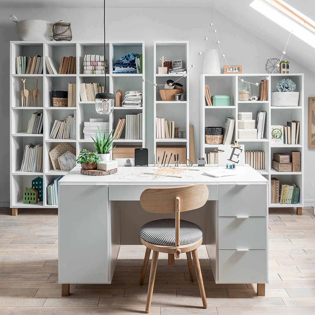 Simple Low Bookcase - White
