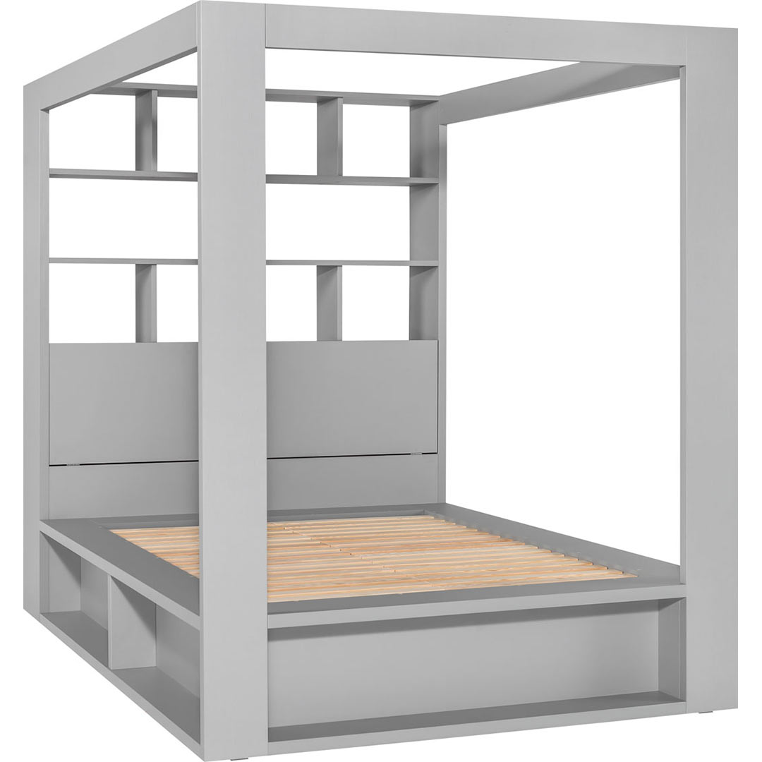 4You Double Bed with Canopy & Shelves - Grey