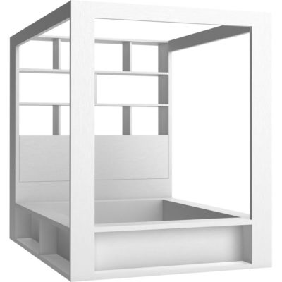 4You Double Bed with Canopy & Shelves - White