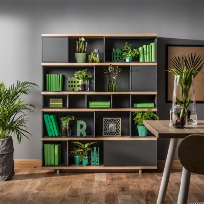 Balance Dark Wide Bookcase