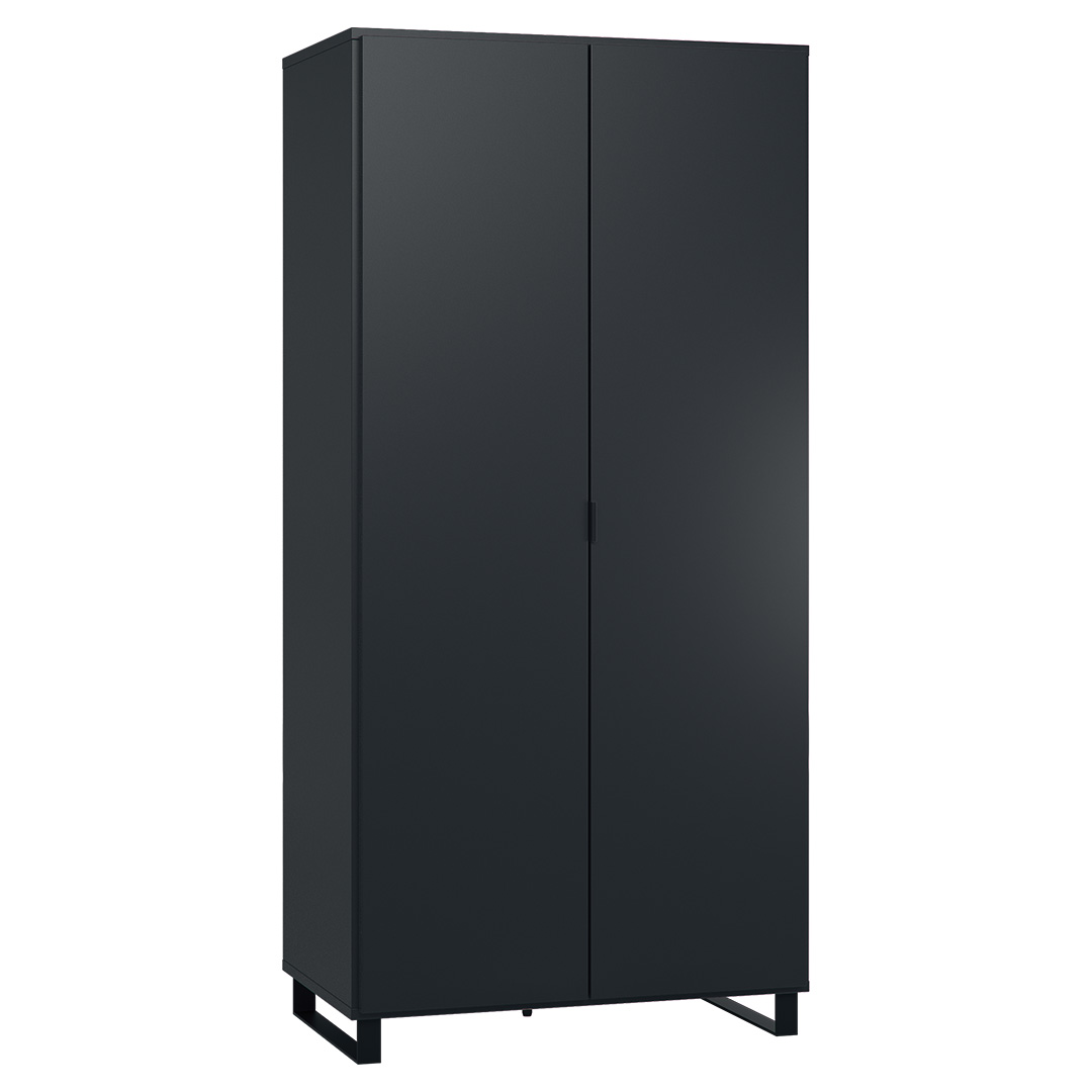 Vox Simple Two-Door Wardrobe - Black