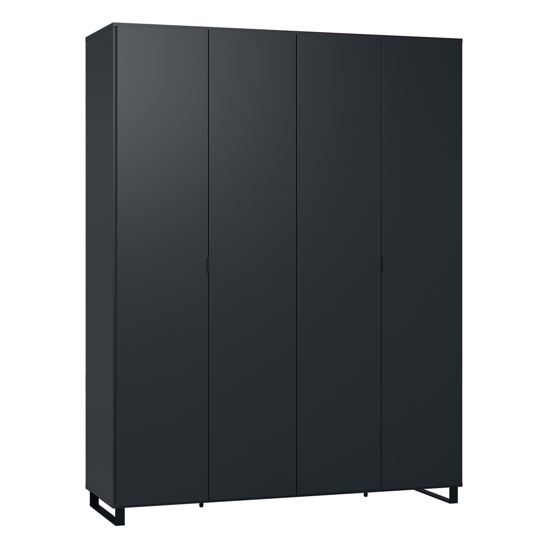 Vox Simple Four-Door Wardrobe - Black