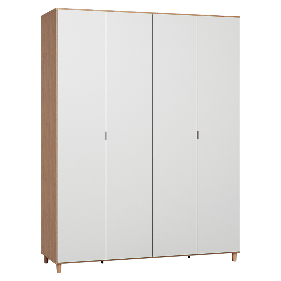 Vox Simple Four-Door Wardrobe - Oak & White
