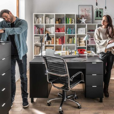 Simple Desk with Functional Slat - Black