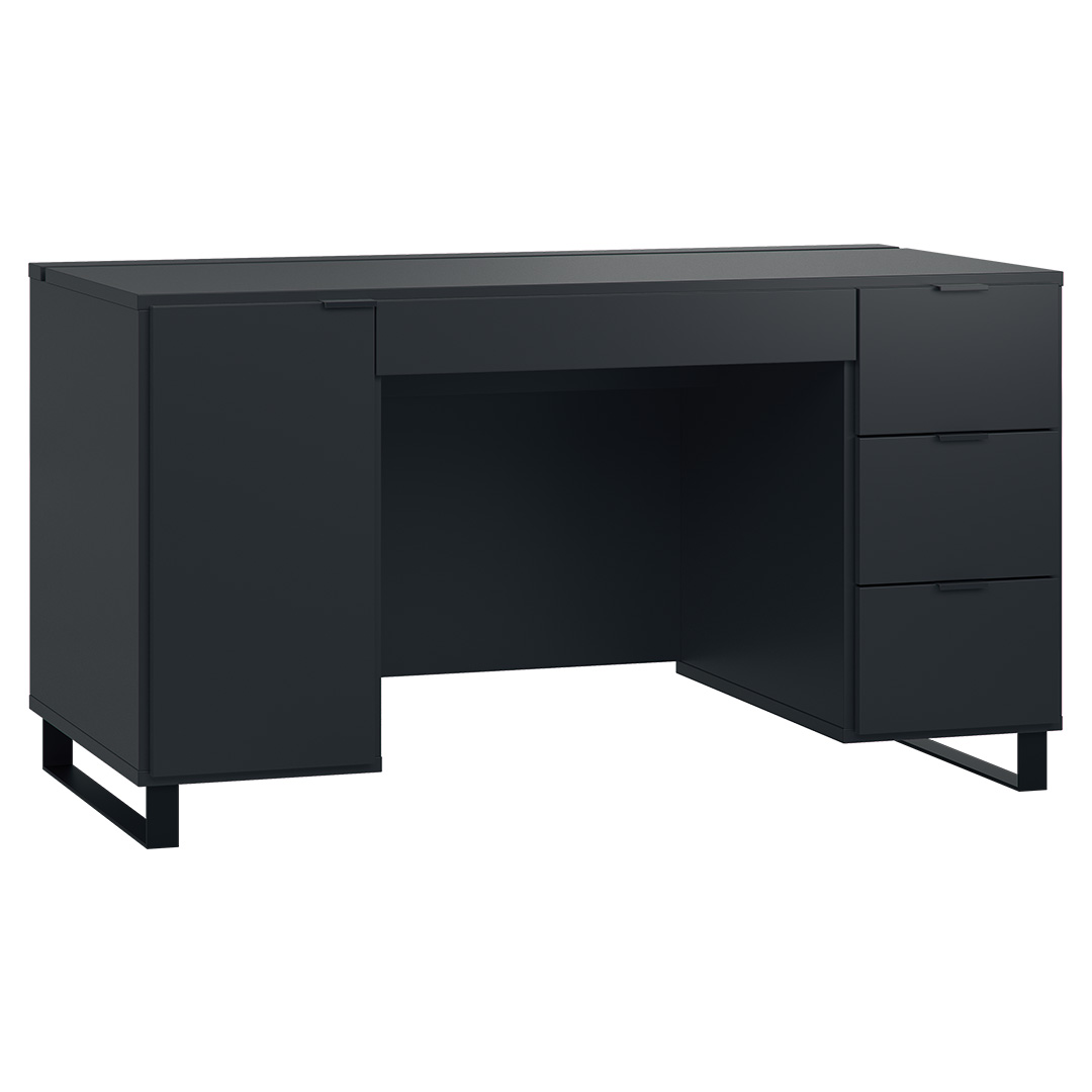 Vox Simple Desk with Functional Slat - Black
