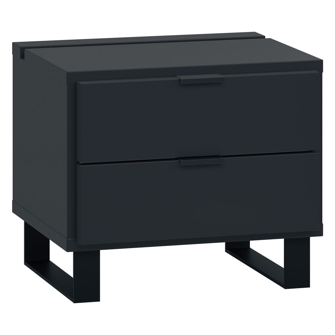 Vox Simple Nightstand with Functional Slat - Black