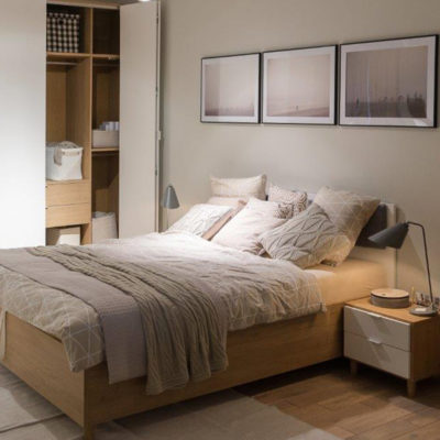 Vox Simple Double Bed & Simple Four-Door Wardrobe - Oak & White