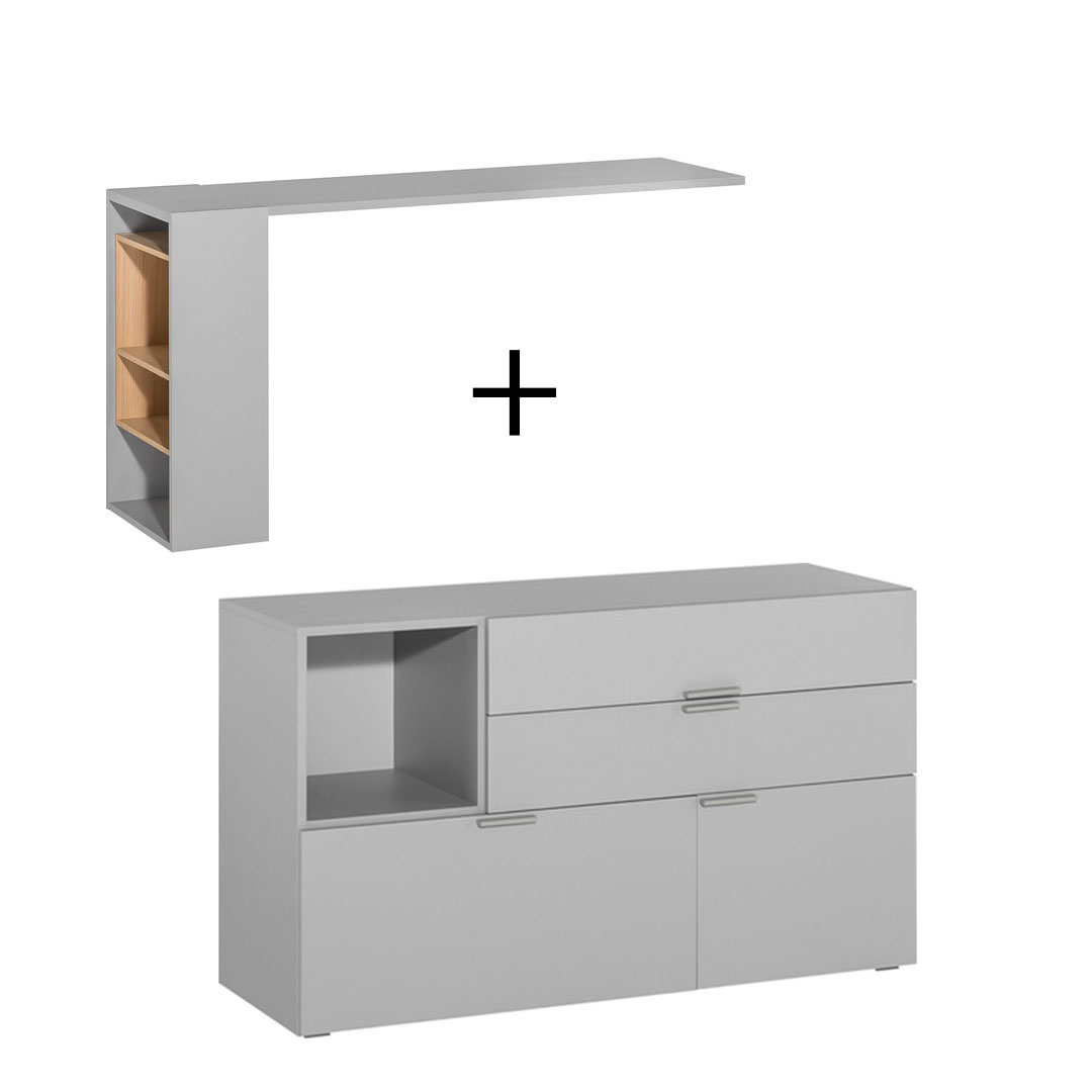 4You Dressing Table/Desk & Chest of Drawers - Grey