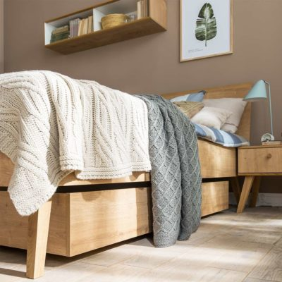 Nature Double Bed with Storage Drawer