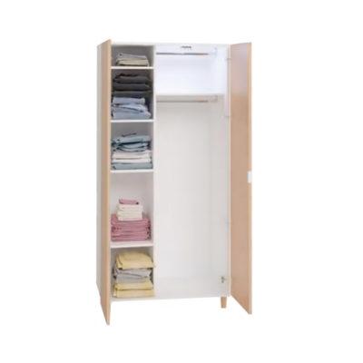 Simple Two-Door Wardrobe - Oak & White