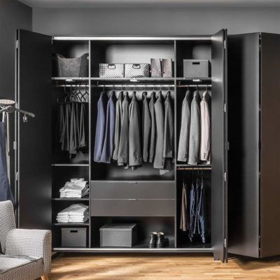 Simple Four-Door Wardrobe - Black