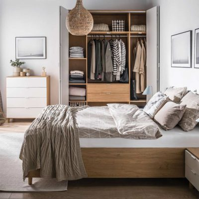 Simple Four-Door Wardrobe - Oak & White