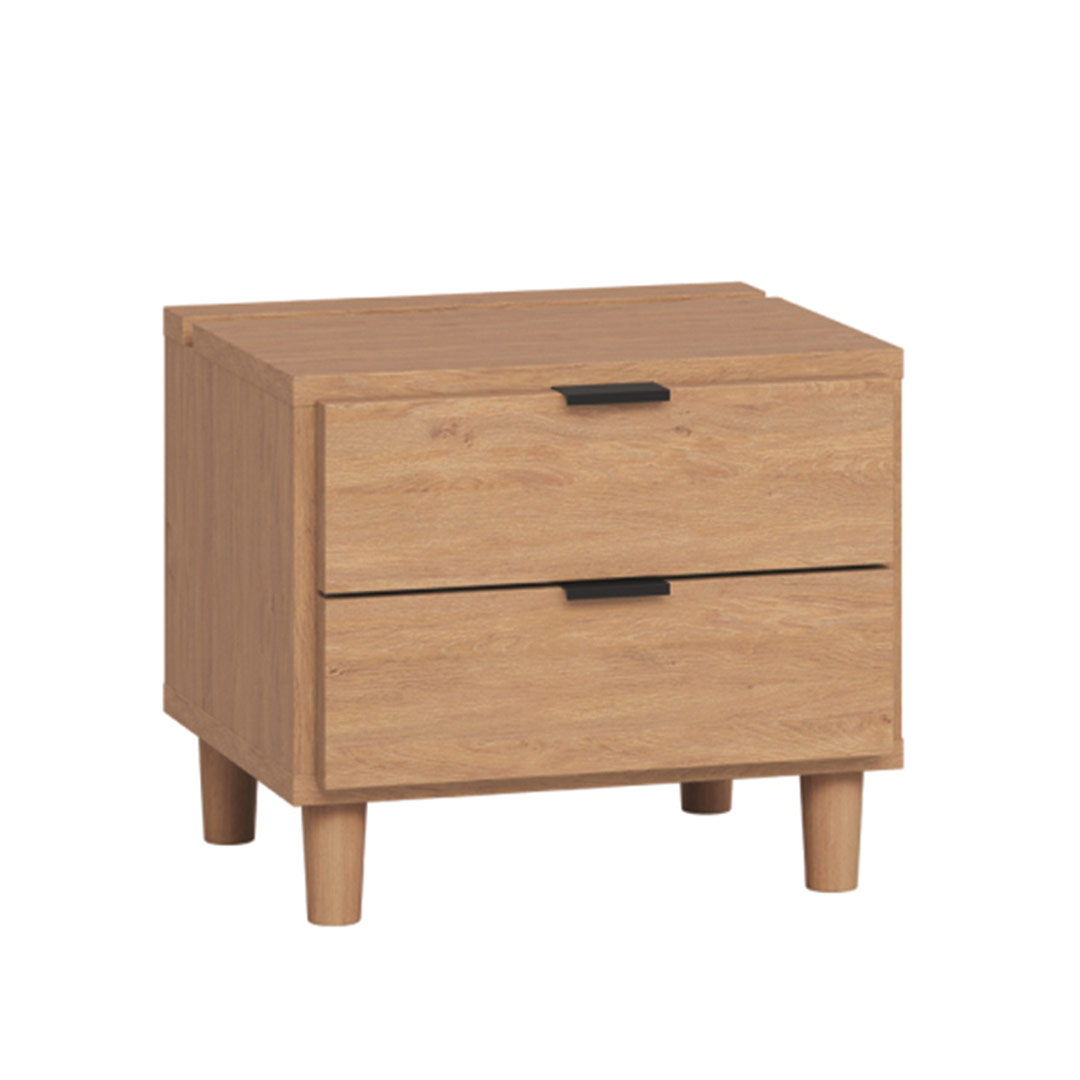 Simple Nightstand with Functional Slat - Oak