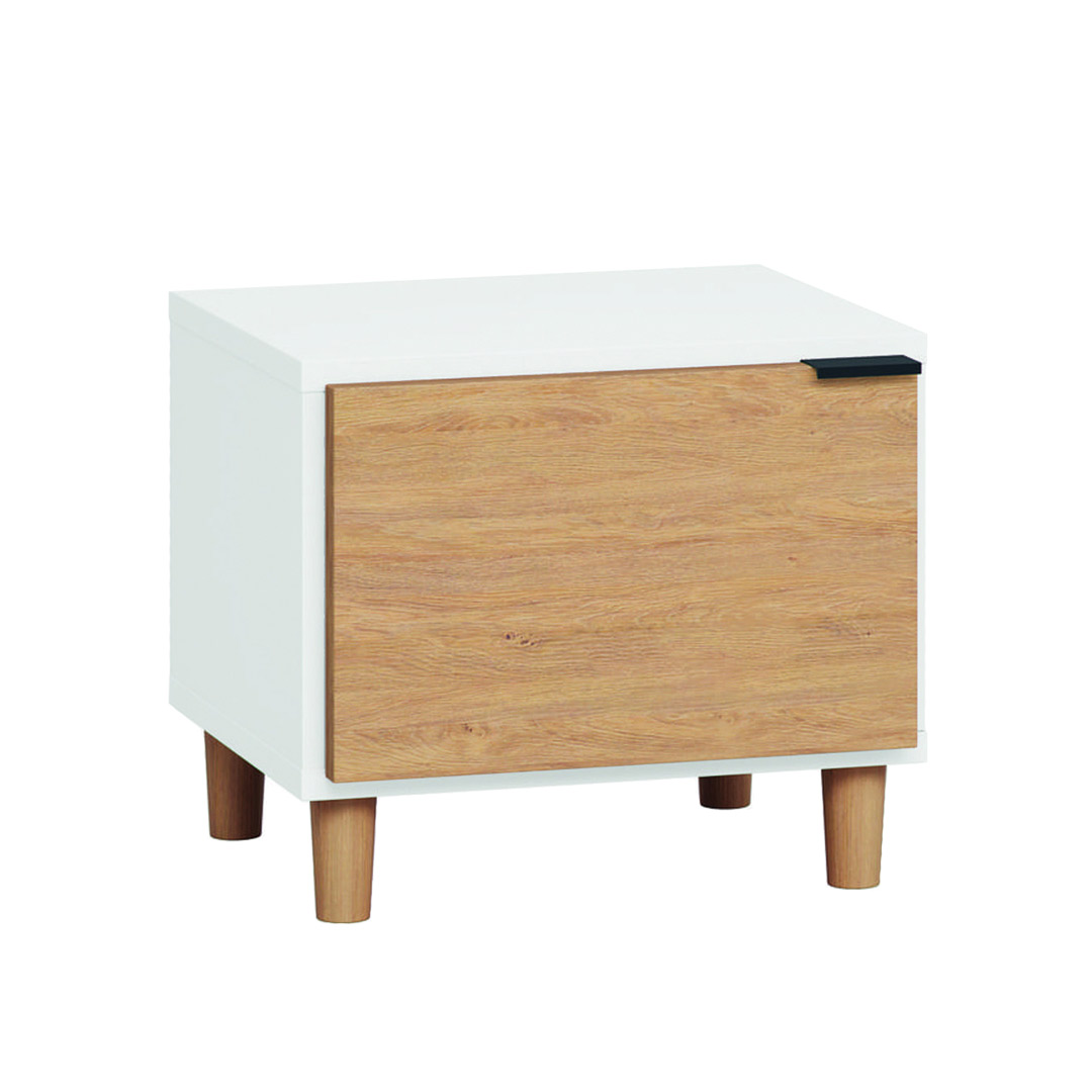 Simple Nightstand - White & Oak