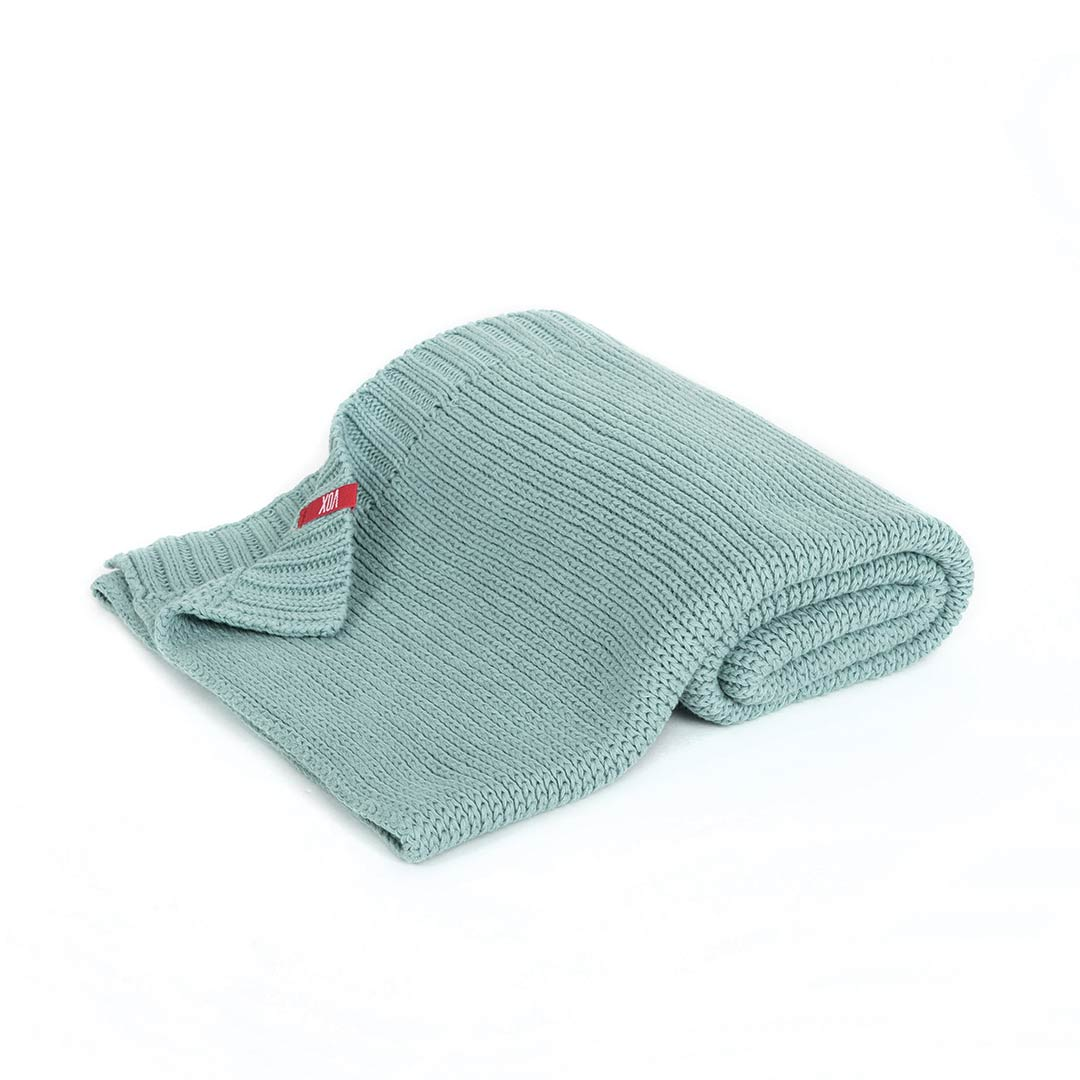 Knitted Baby Blanket 90x75 - Teal