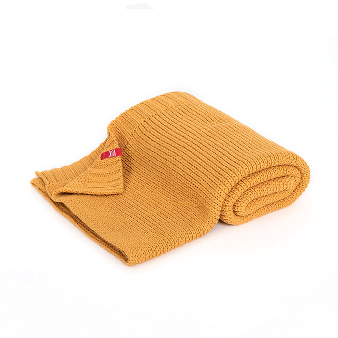 Vox Knitted Baby Blanket 90x75 - Mustard