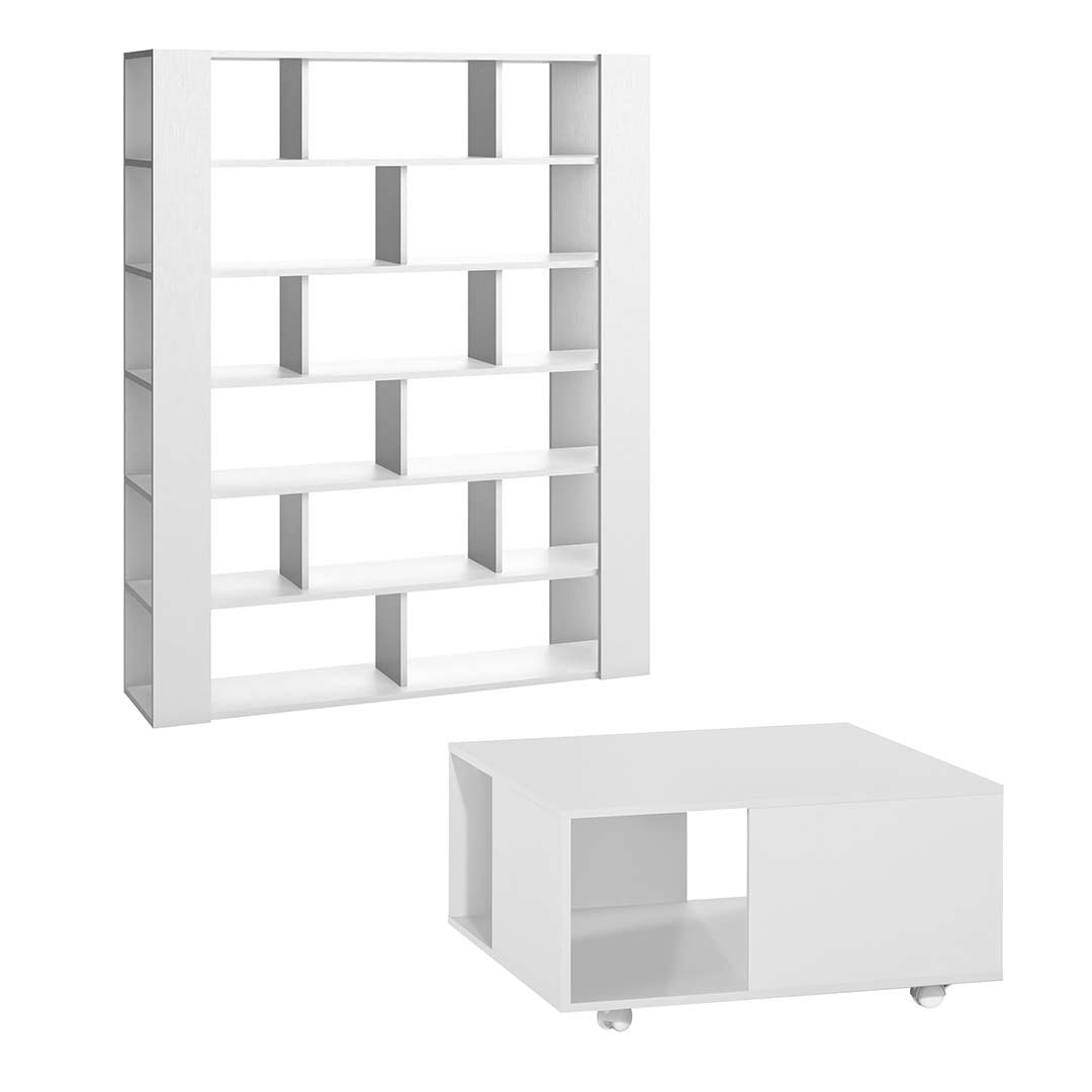 4You Two-Sided Bookcase + 4You Coffee Table excl Boxes - White