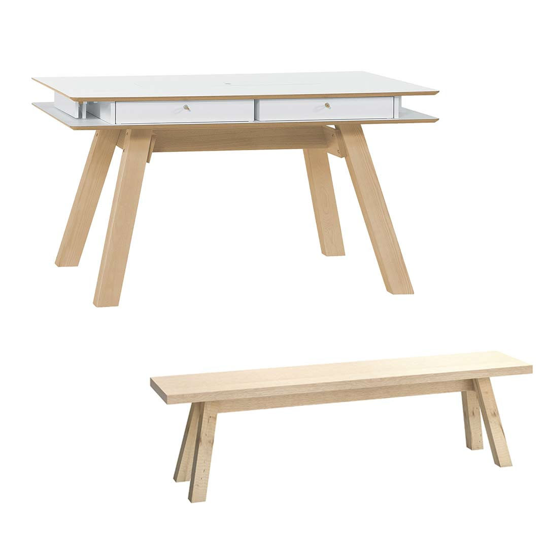 4You Extendable Dining Table White + 4You Bench Oak