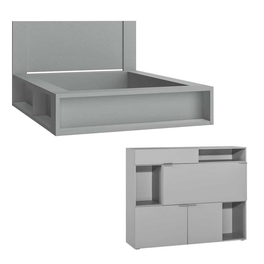 4You Double Bed + 4You Cupboard - Grey
