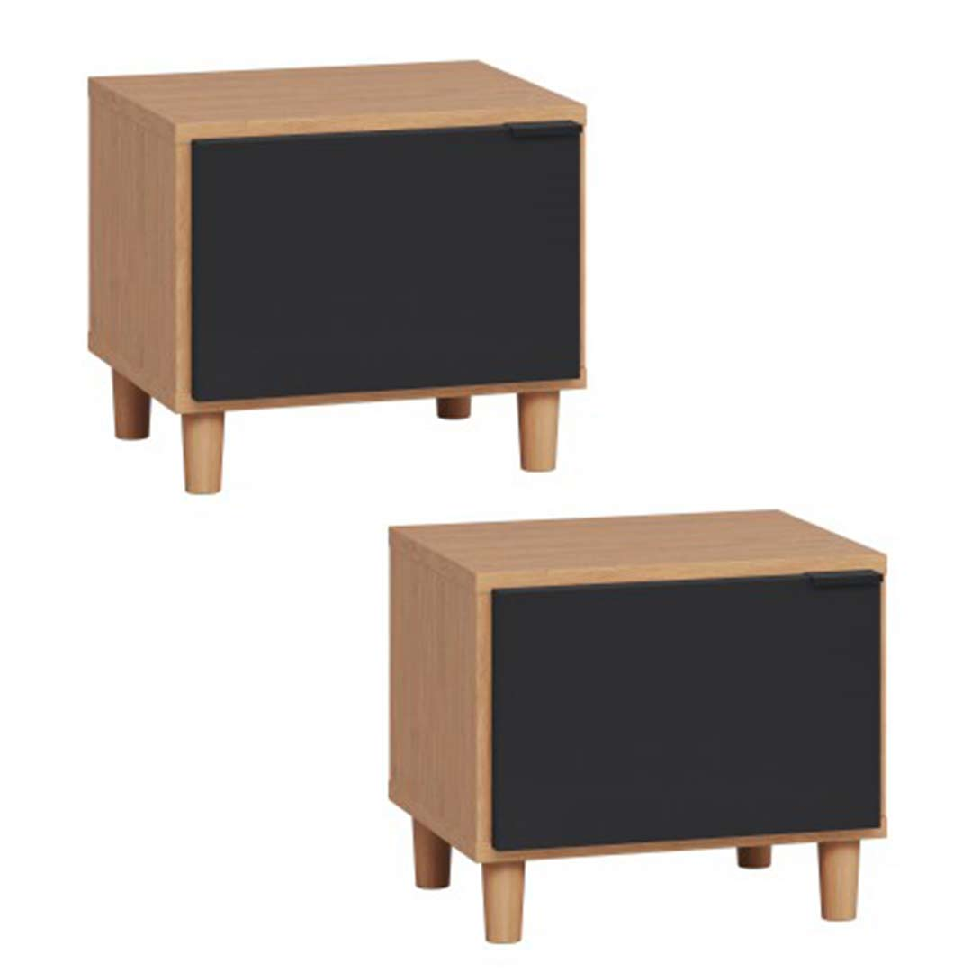 Set Of 2 Simple Nightstands Oak Black