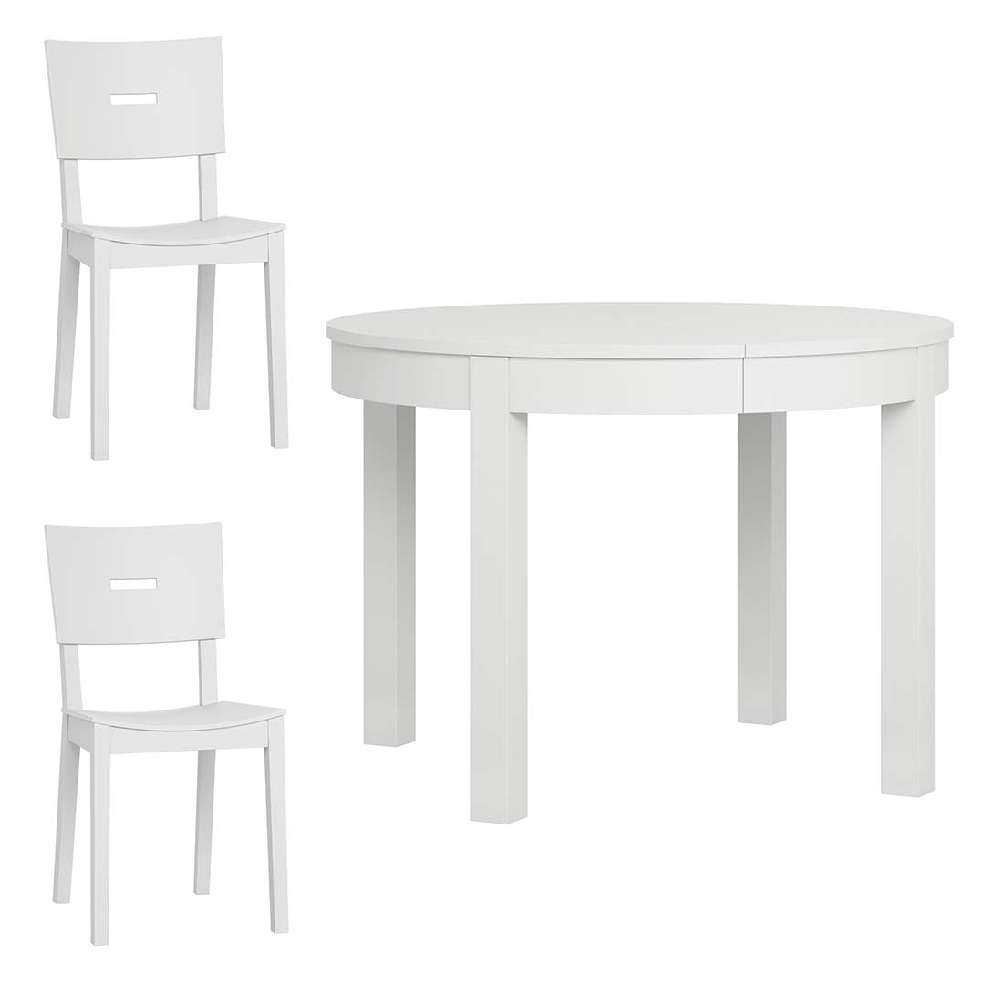 Simple Round Extendable Table + Set of 2 Simple Chairs - White