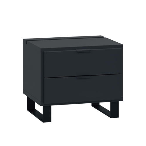 Simple Nightstand with Functional Slat - Black